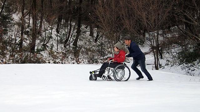 """「夢の森公園」で雪上の""""車いすアクロ""""体験を行いました。"""