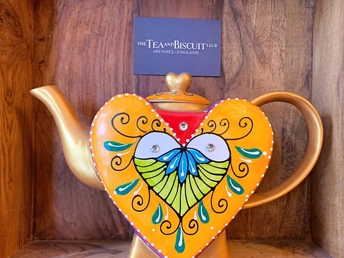 Berry, Orange & Gold Heart Teapot