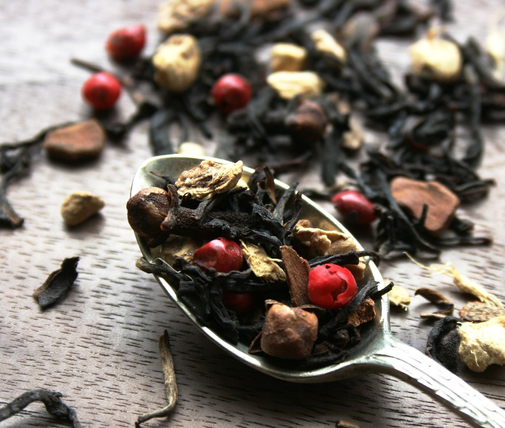 Spicy Black Tea, Indian Assam, ginger, cinnamon, red peppercorns, cloves, cardamom