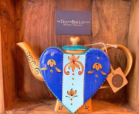 Blue & Gold Heart Teapot