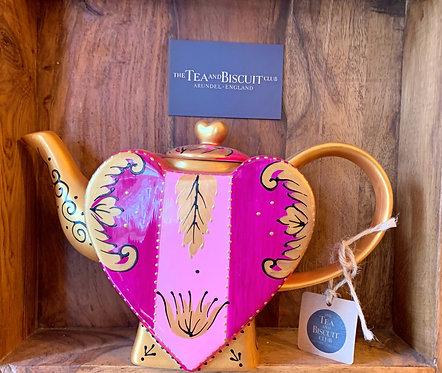 Pink & Gold Heart Teapot