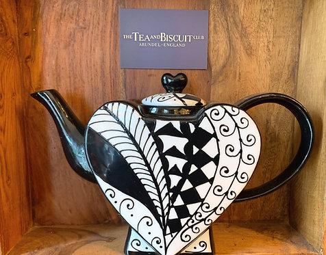 Black & White Heart Teapot