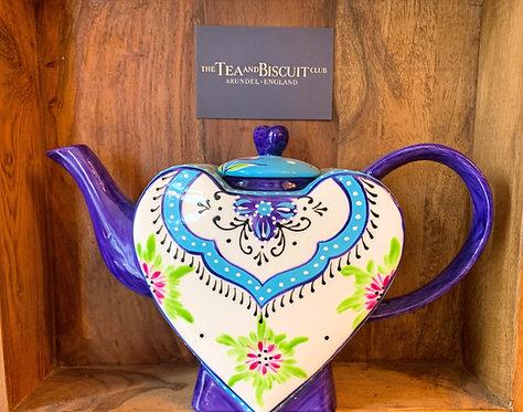White & Purple Heart Teapot