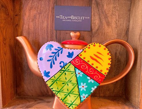Orange & Gold Heart Teapot