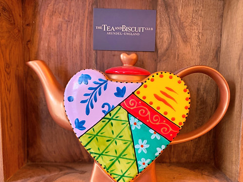 Orange & Gold Heart Teapot