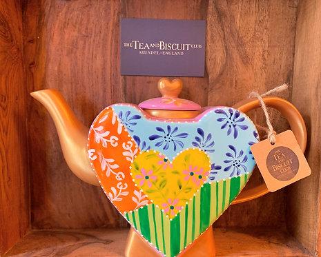 Pastel Pink & Gold Heart Teapot