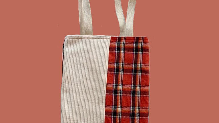 Red Check×White bag