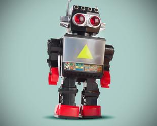 Black robot on blue background