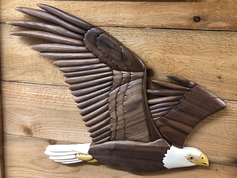 Flying intarsia eagle   $350.