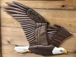 flying intarsia eagle