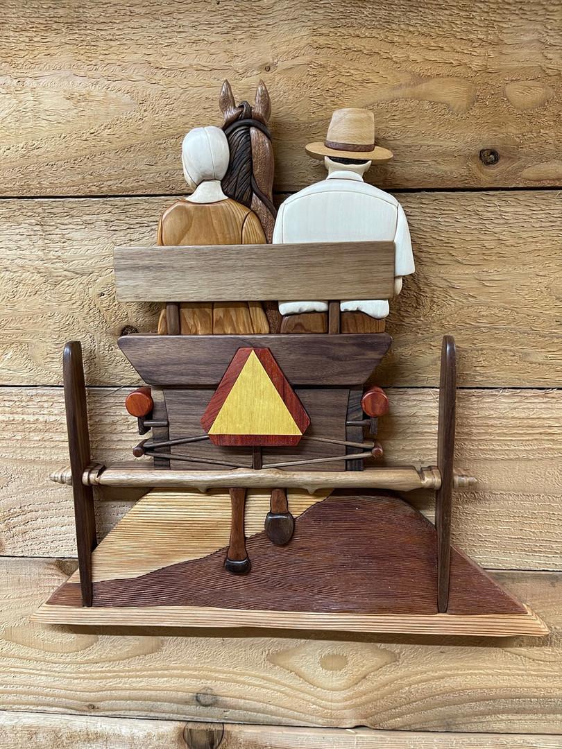 Intarsia Amish Horse and Buggy