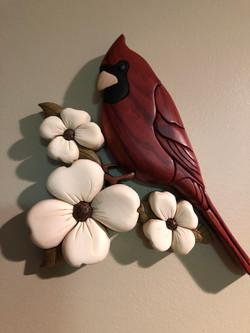 Intarsia Cardinal on Dogwood