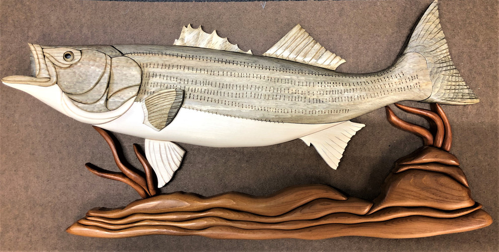 Intarsia Striped Bass  $185.