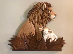 Intarsia Lion and Lamb
