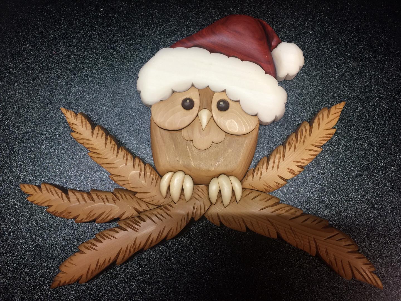 Intarsia Christmas Owl   $125.