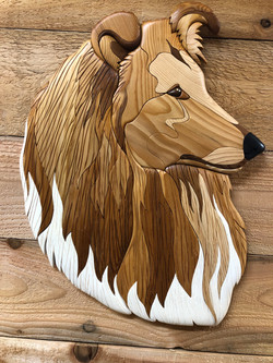 Intarsia Wood Collie