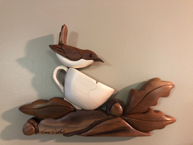 Intarsia Tea Cup Wren    $125.