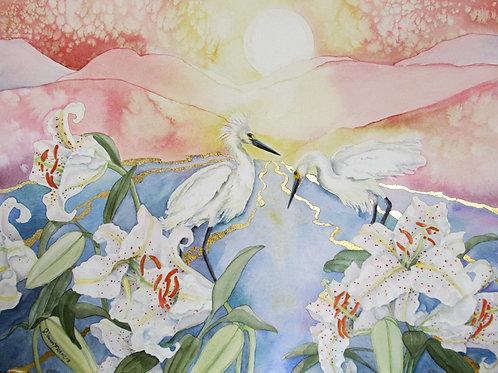 Egret & White Lilies