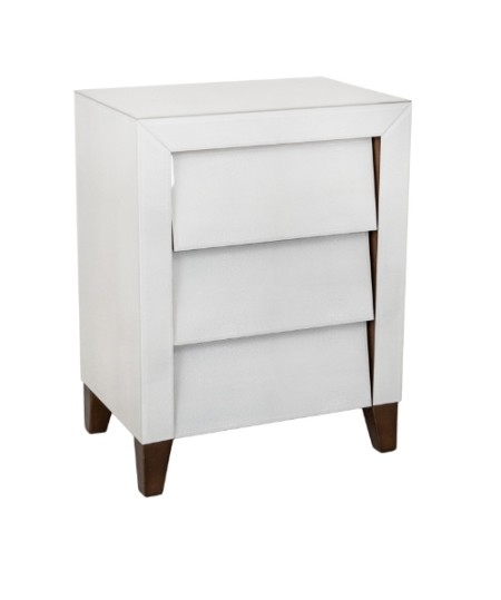 Iced Ivory 3 Drawer Bedside