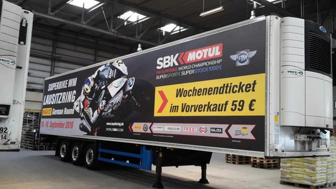 Beschriftung von 7 Kühlzügen für die Bewerbung der Superbike WM auf dem Lausitzring am 16.-18.Septem