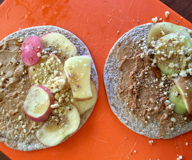 Flat Bread w/ Nut Butter, Apples, Walnuts, Hemp Hearts and Ancient Grains