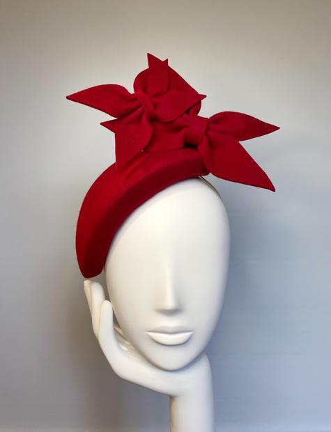 Deep red felt tapered bandeau