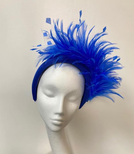Cobalt blue headband with feather trim