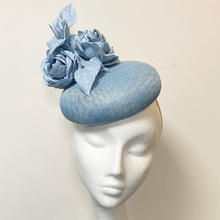 Baby blue button with silk roses