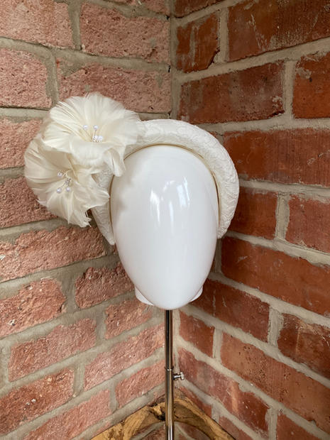 Ivory lace headband with feather flowers