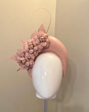 Dusk pink headband with leather flower and quill trim