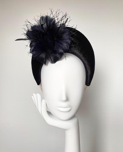 Black velvet leather headband with feather flowers