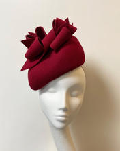 Deep red felt perching shaped beret