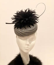 Houndstooth button with black feather flower and quill