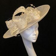 Cream Hat with Sequinned Bow