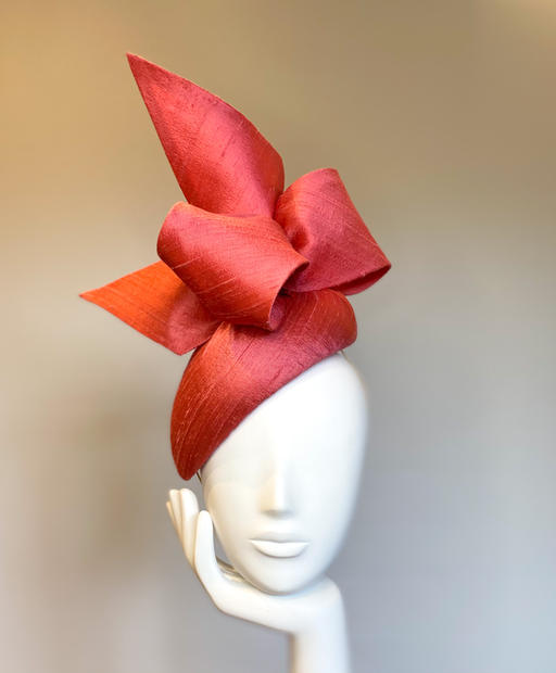 Silk coral beret with bow trim