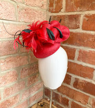 Small red straw button, upcycled from a former hat