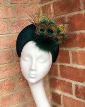 Bottle green velvet headband with peacock feathers