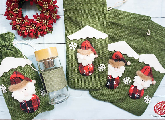 Christmas Special: Santa drawstring bag with tea bottle