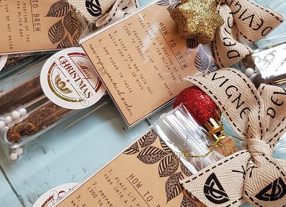 Christmas tea tubes with drawstring tea filter bag