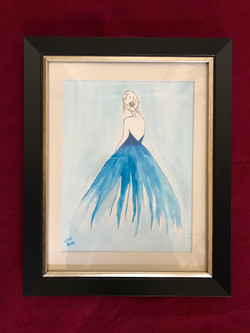 Blue Lady Watercolor 9x12