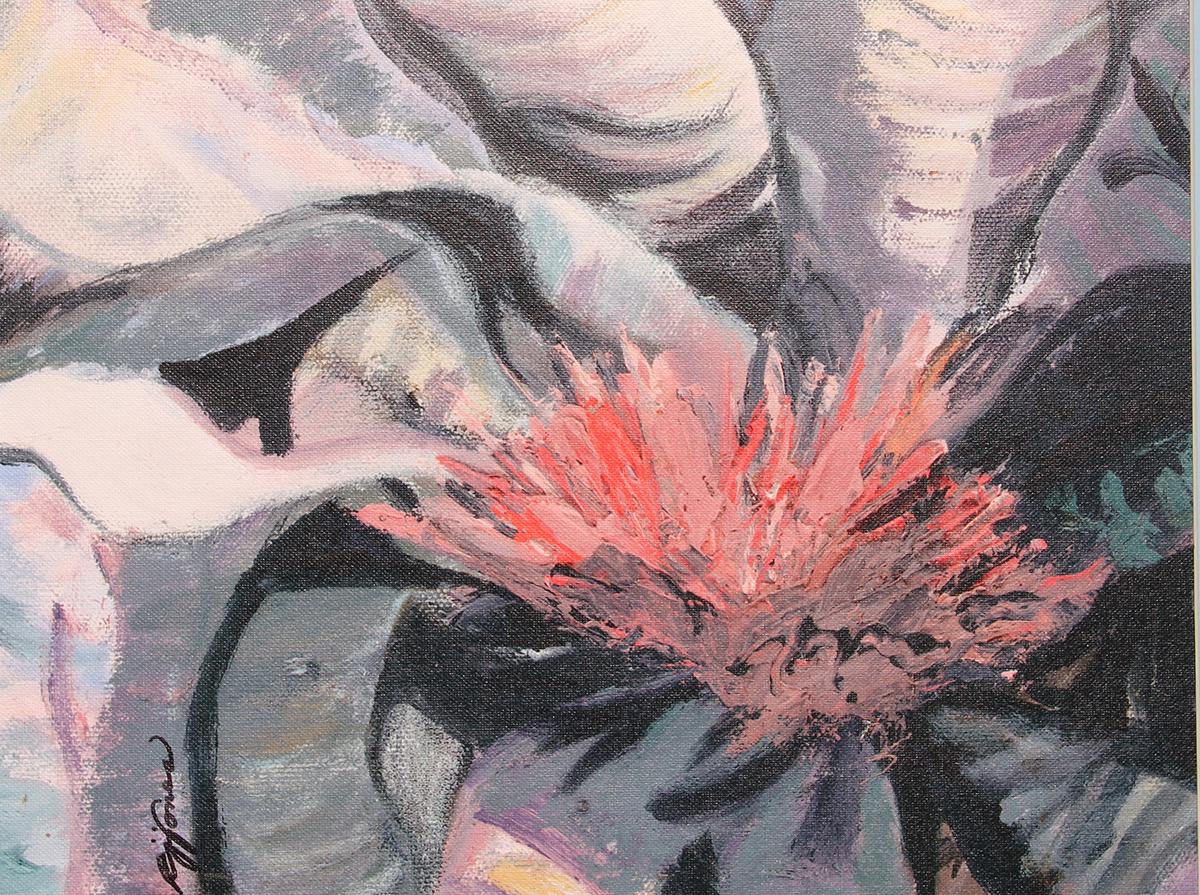Flower Bromiliad giclee on canvas21x17 framed