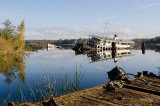 Boat wreck in Norrköping