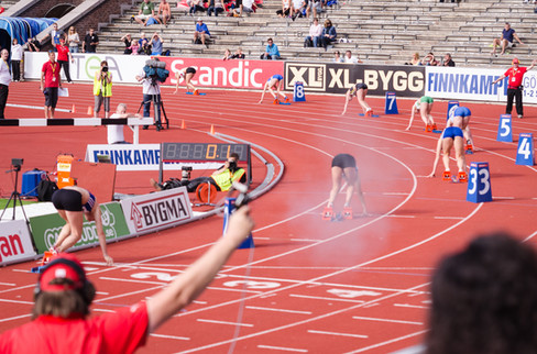 The start of the final in the 400 m hurdles, 2012