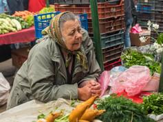 Woman on Saturday market in Gheorgheni