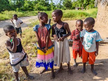 Children in the village of Mloka