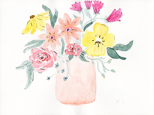 print or notecard - simple spring bouquet