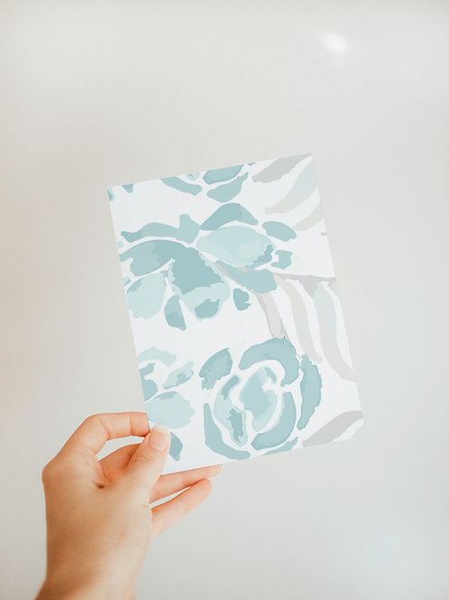 Salty Florals Notecard in Blue