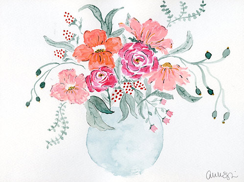 print or notecard - whimsical bouquet