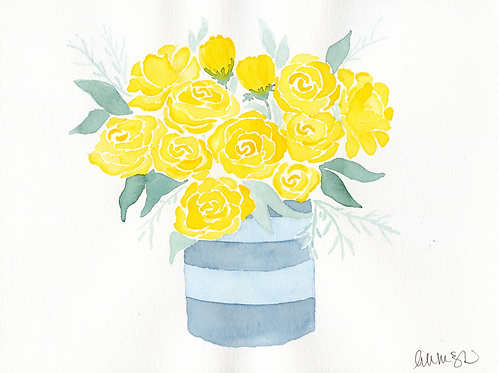 print or notecard - yellow rose bouquet