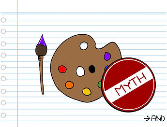 """a paint pallet and brush and a stamp saying, """"myth"""""""